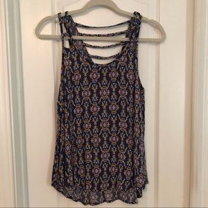 Xhilaration Navy Print Tank Top